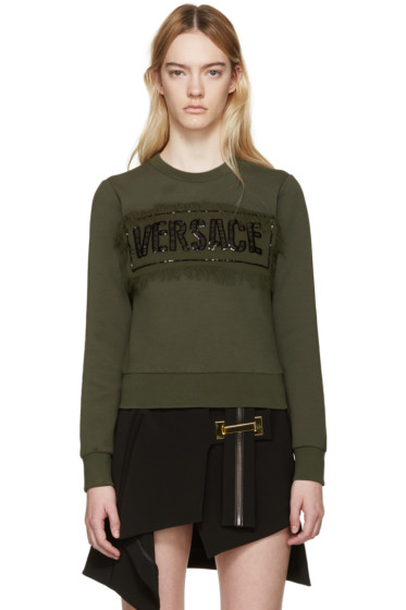 Versace - Green Embellished Letters Sweatshirt