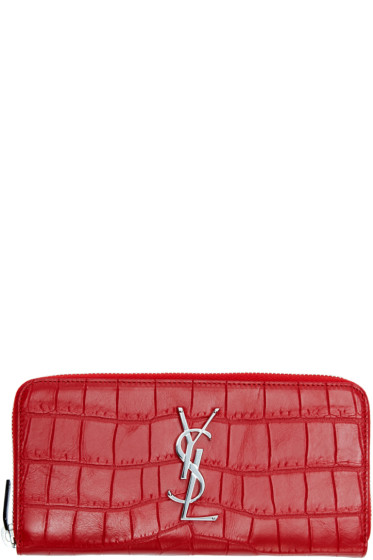 Saint Laurent - Red Leather Monogram Wallet