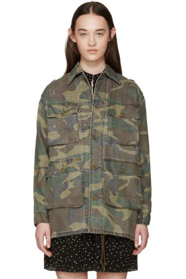 Saint Laurent - Green Camouflage Pockets Jacket