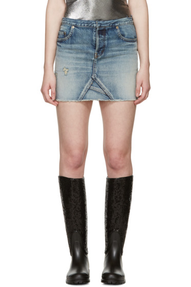 Saint Laurent - Blue Denim Cut-Off Miniskirt