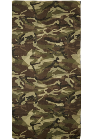 Saint Laurent - Green & Brown Camouflage Scarf