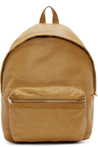 Saint Laurent - Tan Leather Washed Backpack