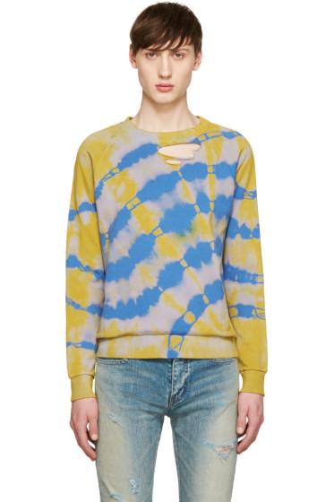 Saint Laurent - Yellow & Blue Tie Dye Pullover