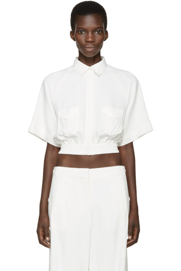 MSGM - White Cropped Crepe Shirt