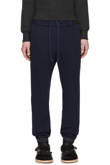 Sacai - Navy Bonded Jersey Lounge Pants