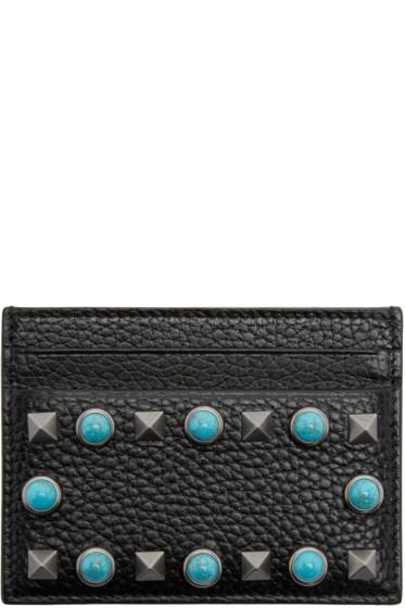 Valentino - Black Leather Stone & Rockstud Card Holder