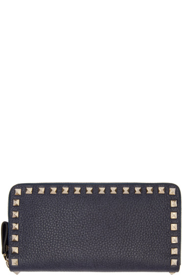 Valentino - Navy Rockstud Continental Wallet