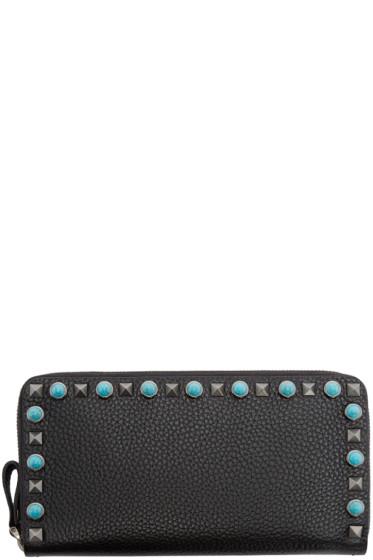 Valentino - Black Leather Stone & Rockstud Wallet