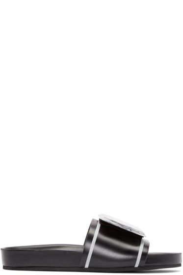 Toga Pulla - Black Leather Marble Sandals