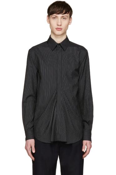 Facetasm - Black Wool Pinstripe Shirt