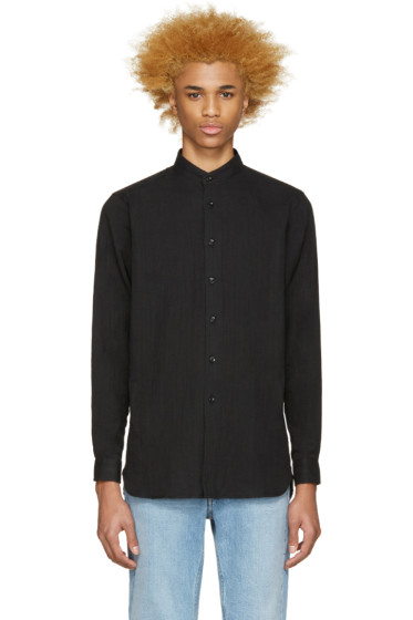 Naked & Famous Denim - Black Stand Collar Shirt