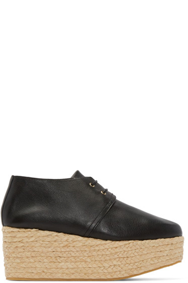 Robert Clergerie - Black Raffia Patos Wedges
