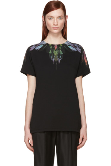 Marcelo Burlon County of Milan - Black Feather Print T-Shirt
