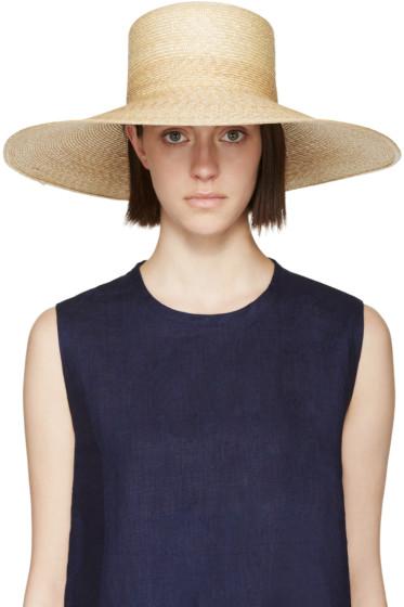 Clyde - Beige Straw Wide-Brim Neckshade Hat