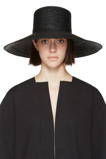 Clyde - Black Straw Wide Brim Neckshade Hat
