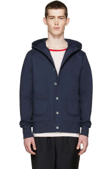 Nigel Cabourn - Navy Terry Hooded Cardigan