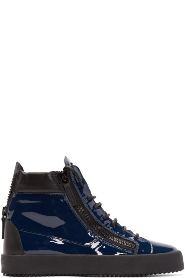Giuseppe Zanotti - Blue Patent Leather London High-Top Sneakers