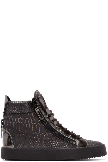 Giuseppe Zanotti - Black Croc-Embossed London High-Top Sneakers