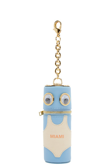 Sophie Hulme - SSENSE Exclusive Blue & Pink Miami Tube Pouch Keychain