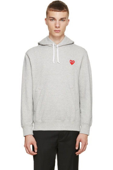 Comme des Garçons Play - Grey Logo Hoodie