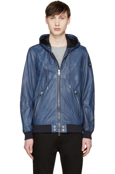 Diesel - Blue Leather Collins Hoodie