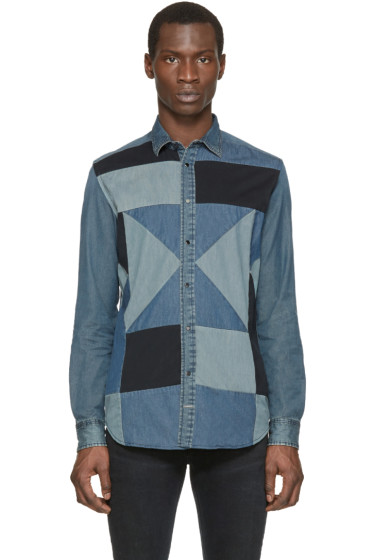 Diesel - Blue Denim Patchwork Terry Shirt