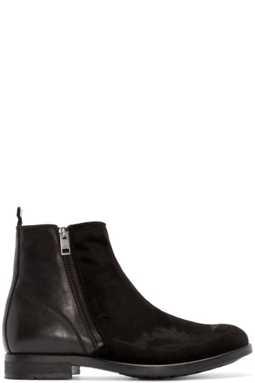 Diesel - Black Velvet & Leather Boots