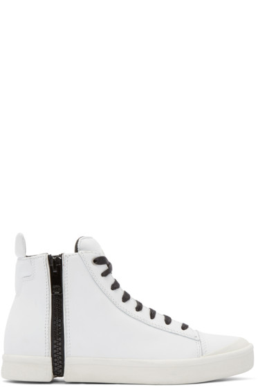 Diesel - White Leather S-NENTISH High-Top Sneakers