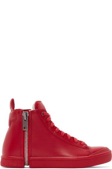 Diesel - Red Leather S-Nentish High-Top Sneakers
