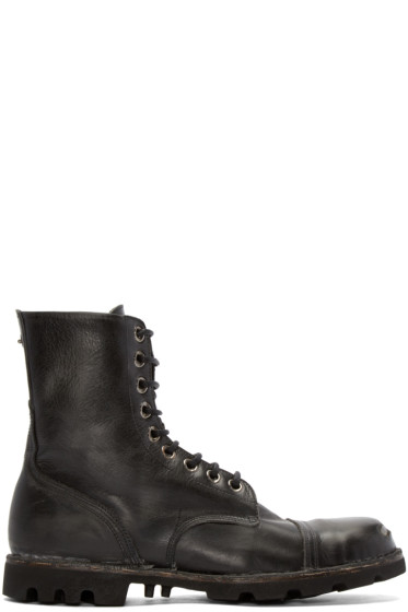 Diesel - Black Leather Steel Boots