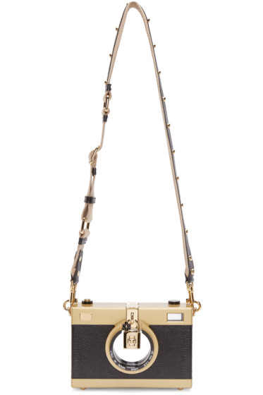 Dolce & Gabbana - Black Embossed Leather Camera Bag