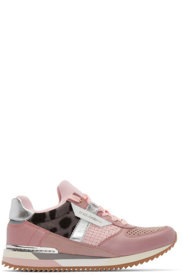 Dolce & Gabbana - Pink Leather Leopard Sneakers