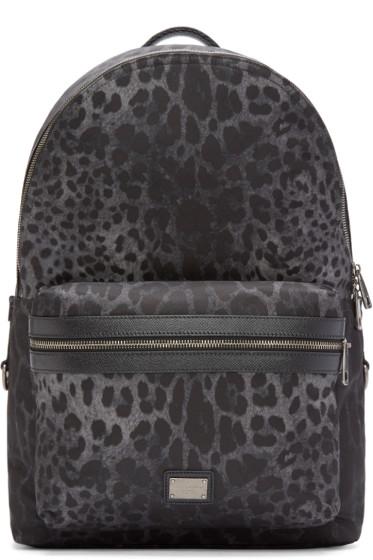 Dolce & Gabbana - Black Leopard Print Volcano Backpack