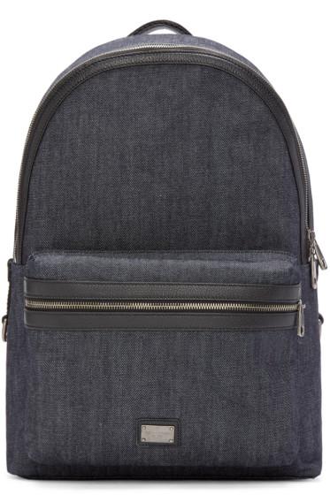 Dolce & Gabbana - Blue Denim & Leather Backpack