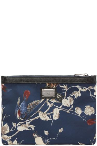Dolce & Gabbana - Navy Bird Print Zip Pouch