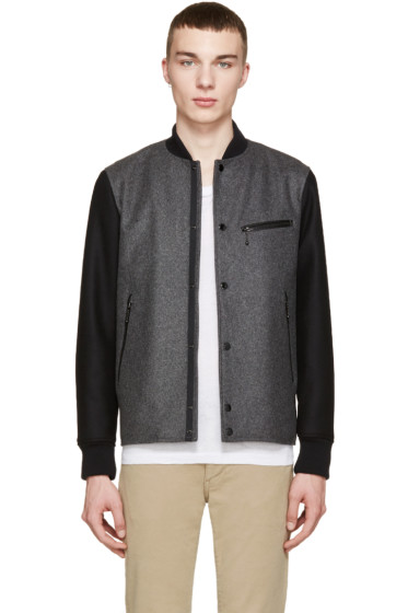 Rag & Bone - Grey & Black Irving Bomber Jacket