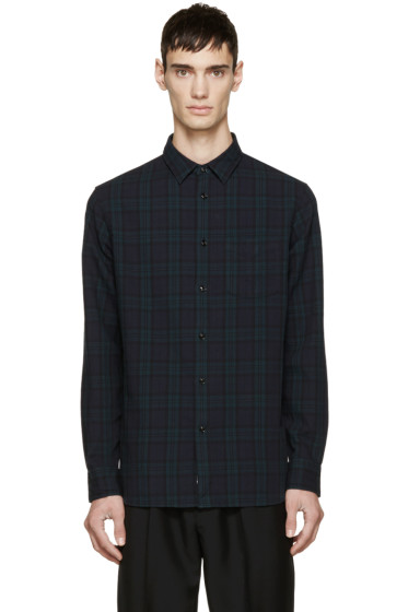 Rag & Bone - Navy & Green Plaid Beach Shirt