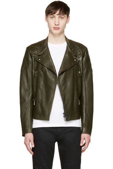 Belstaff - Green Leather Longwick Biker Jacket