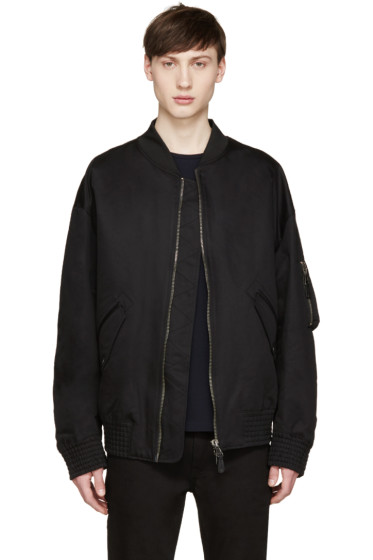 Diesel Black Gold - Black Oversized Bomber Jacket