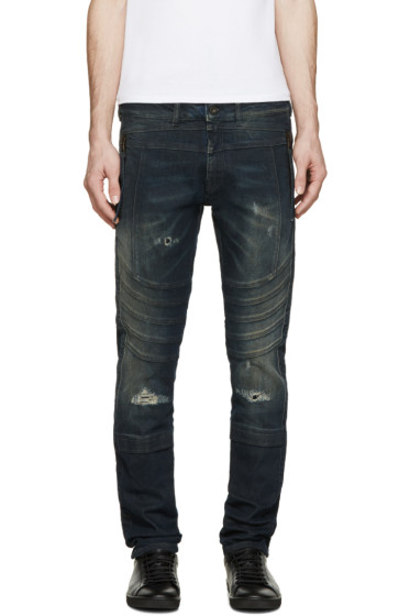 Diesel Black Gold - Indigo Destroyed Biker Jeans