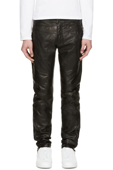 Diesel Black Gold - Black Leather Biker Pants