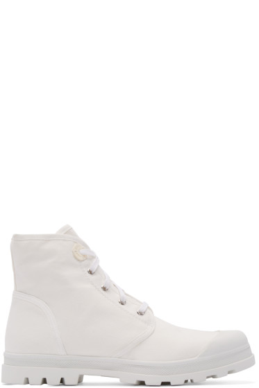 Diesel Black Gold - White Canvas Boots