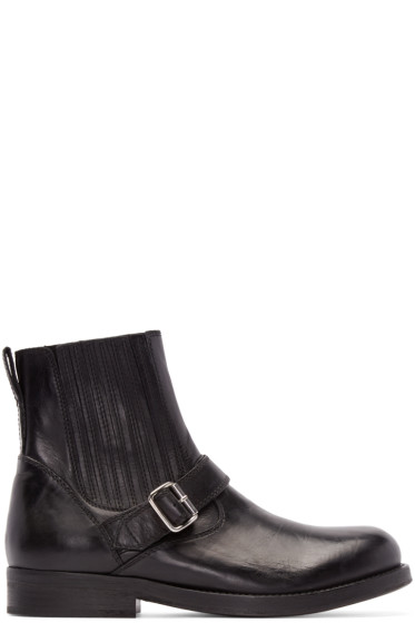 Diesel Black Gold - Black Leather Buckle Boots