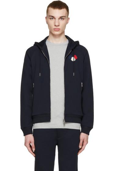 Moncler - Navy Zip-Up Logo Hoodie