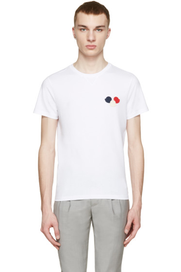 Moncler - White Tricolor Appliqué T-Shirt
