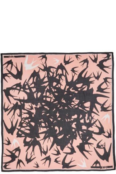 McQ Alexander Mcqueen - Pink & Black Swallow Swarm Scarf