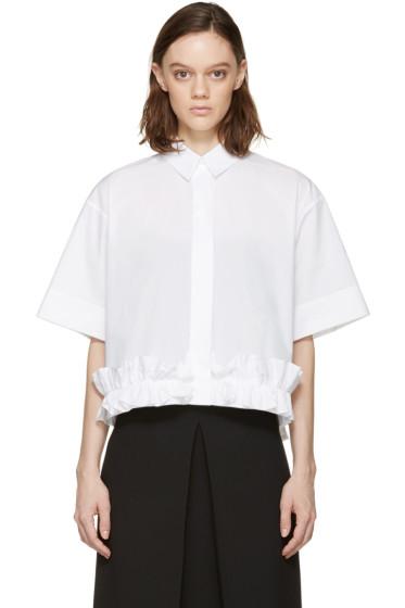 McQ Alexander Mcqueen - White Poplin Ruffle Shirt