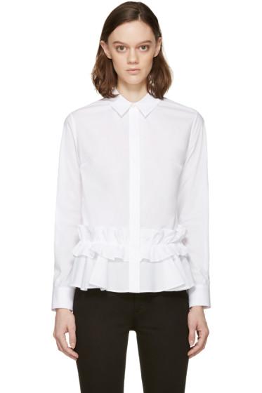 McQ Alexander Mcqueen - White Poplin Ruffle Peplum Shirt