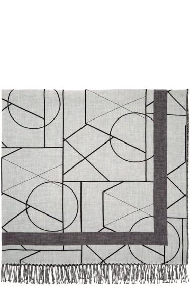 McQ Alexander Mcqueen - Grey Graphic Print Scarf