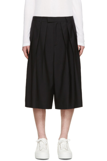 McQ Alexander Mcqueen - Black Wool Pleated Shorts